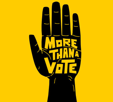 Black open hand with the words more than a vote in the center, on a yellow background