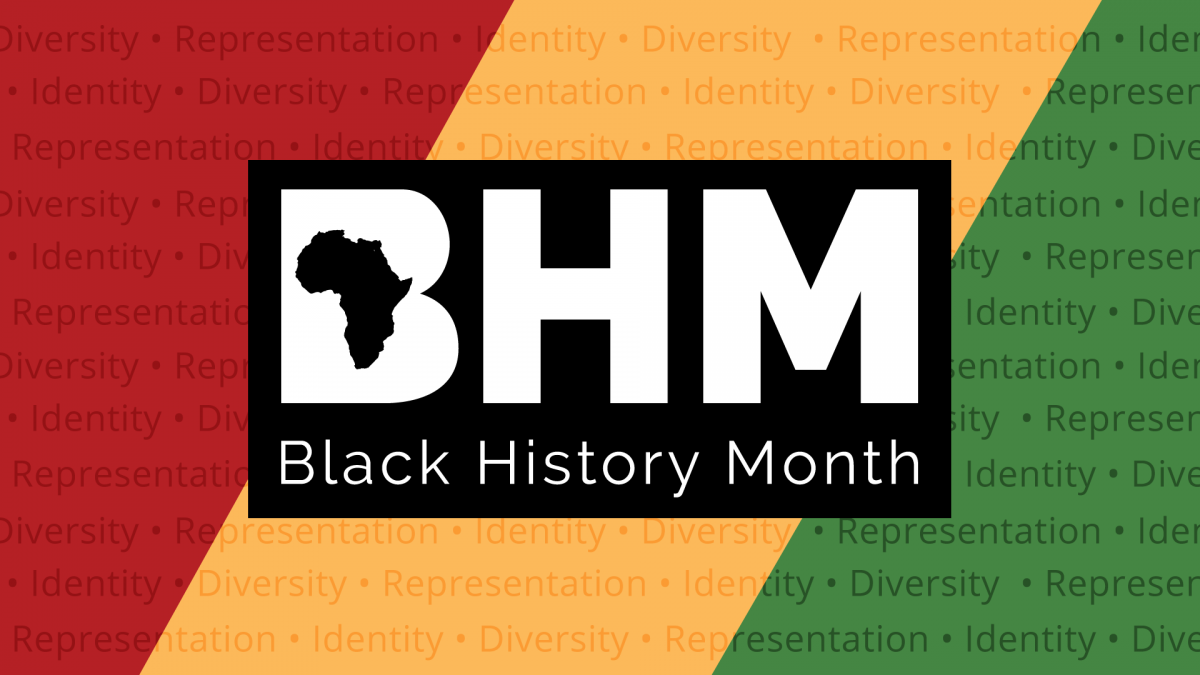 The Letters B H M on a Red Yellow and Green Background, with the word Diversity, Representation, and Identity being repeated.